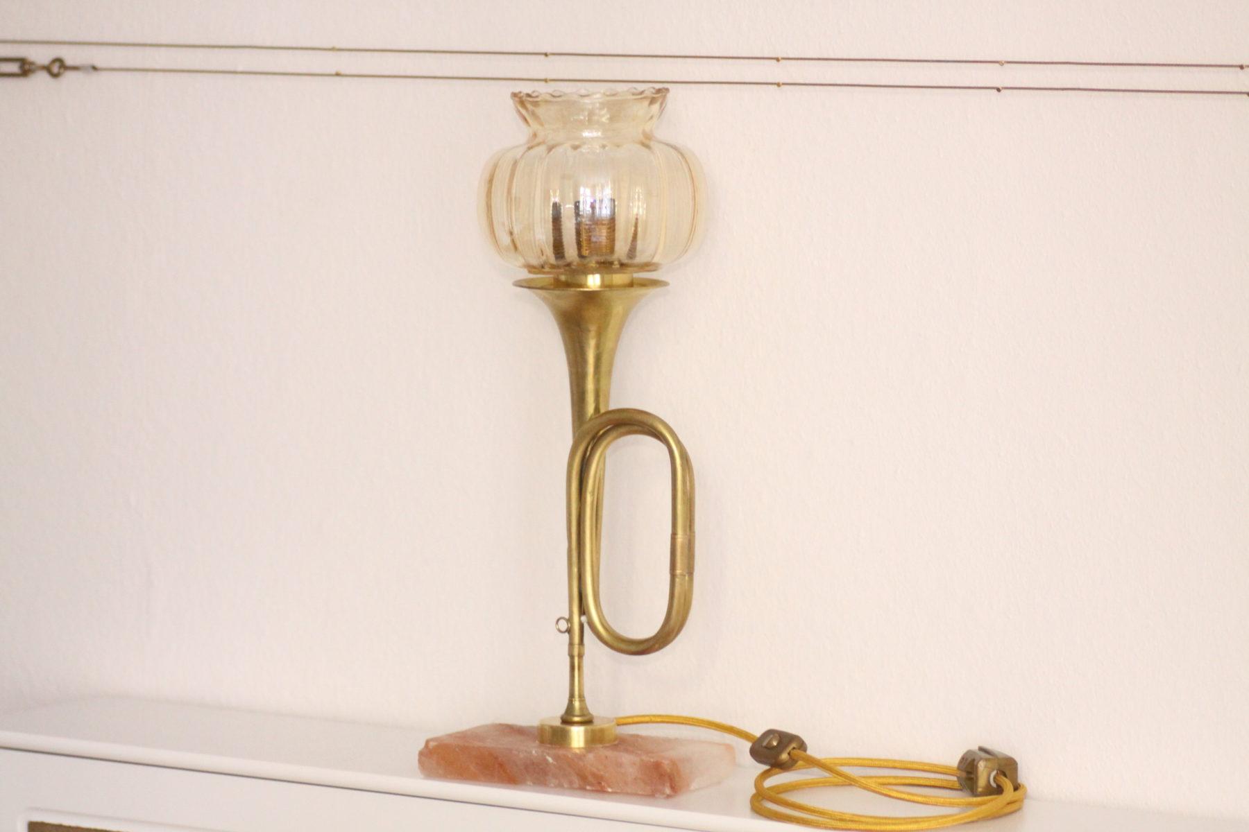 Signalhorn Lampe Design Tischleuchte Trompetenlampe Einzelstück #003b