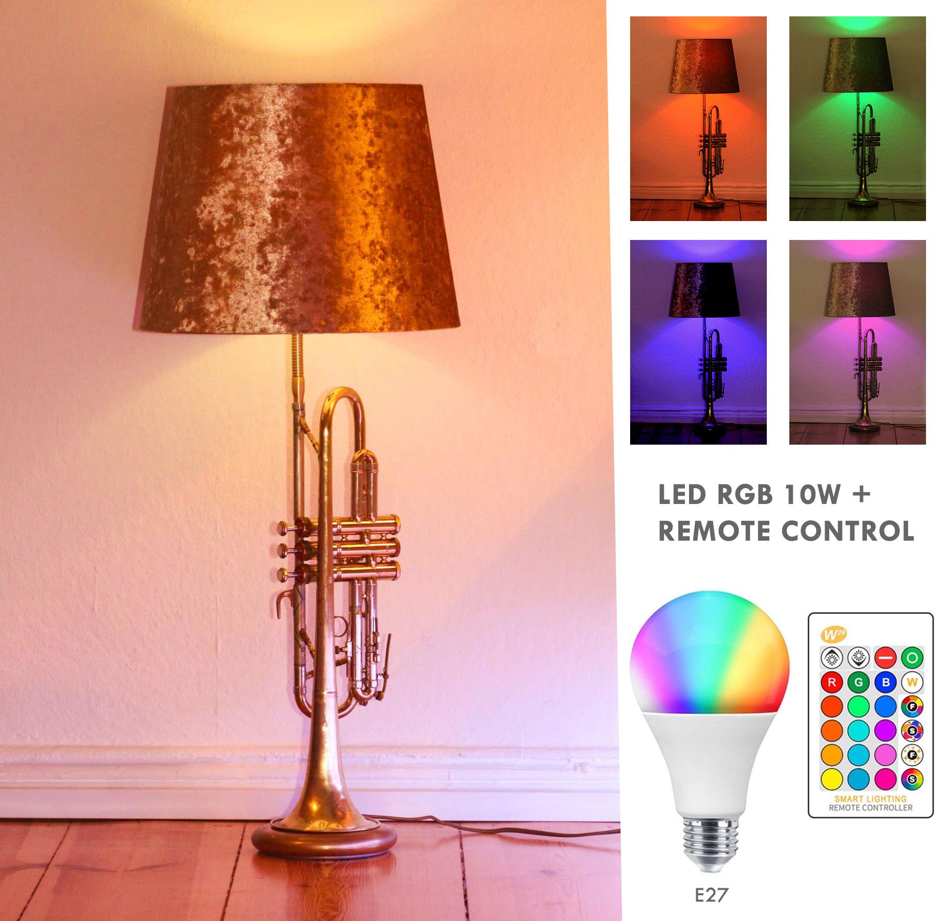 Trompetenlampe Stehlampe Gold LED (RGB) + Fernbedienung