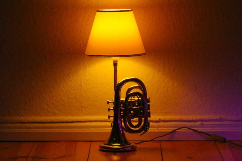 Trumpet lamp pocket gold table lamp handmade 29