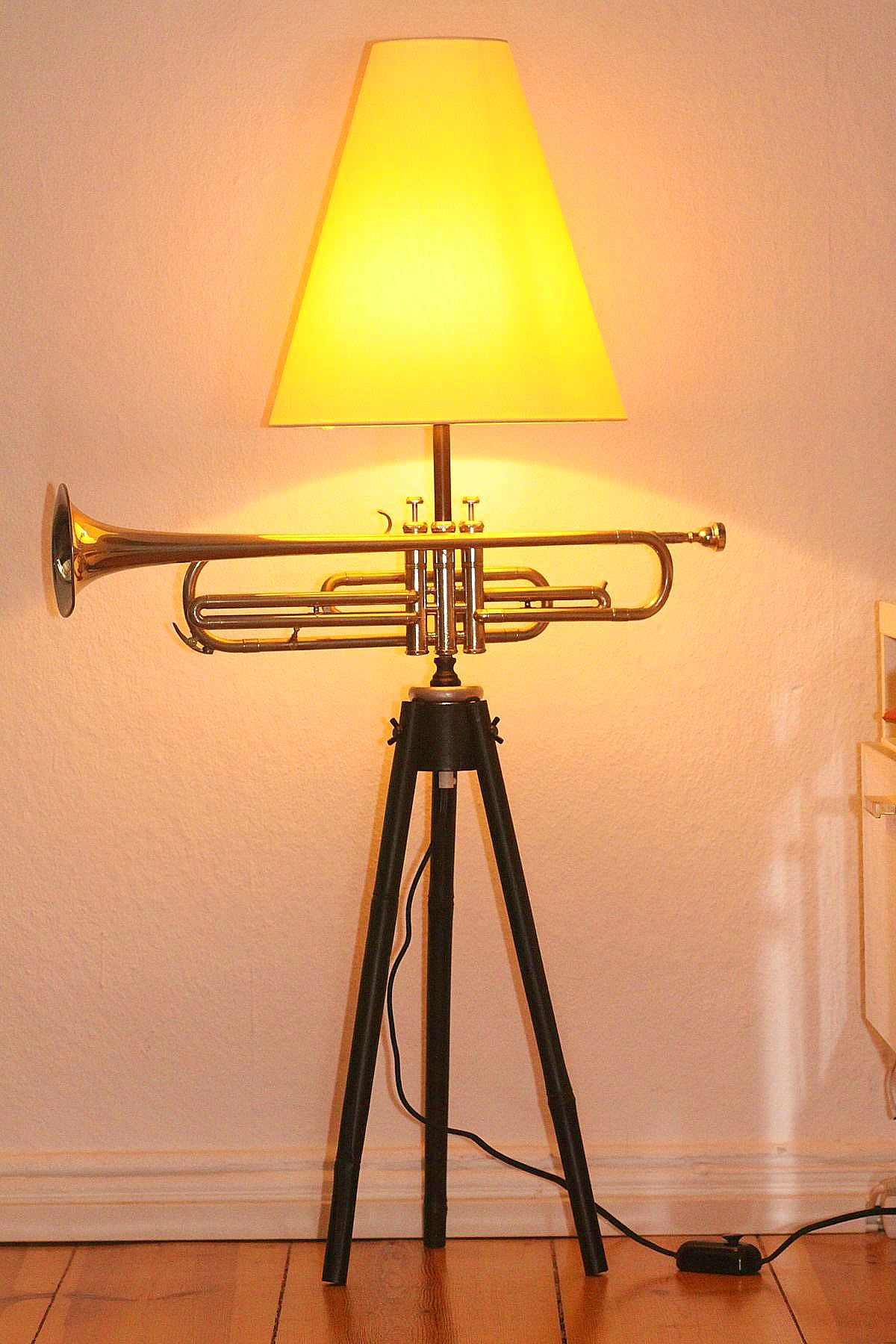 Trumpet lamp floor lamp black silver beige switched