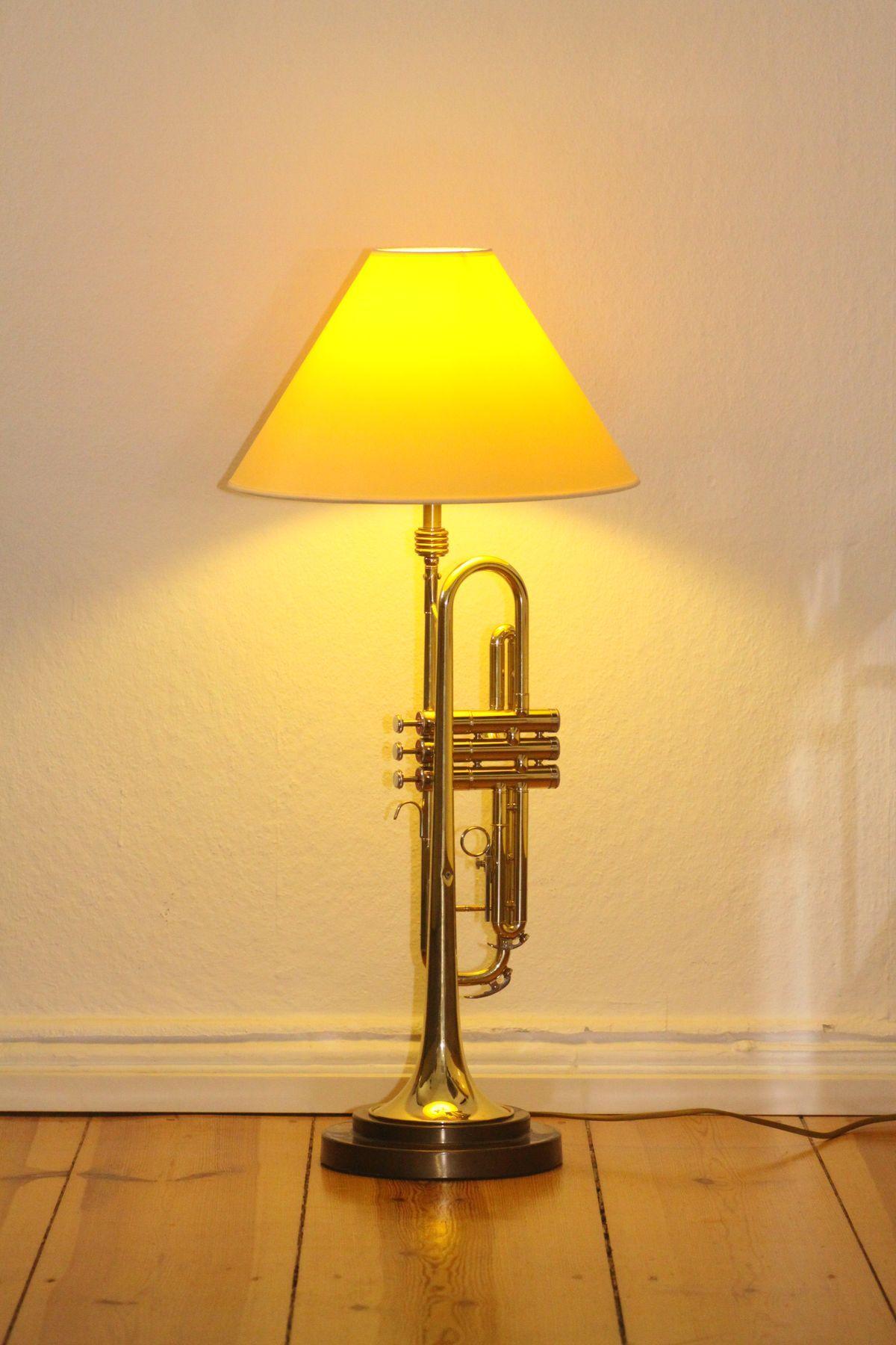 Trumpet lamp floor lamp gold beige brown vintage handmade 37_01